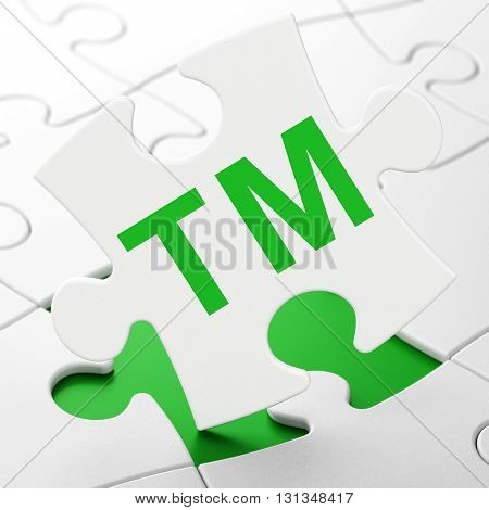 Law concept: Trademark on White puzzle pieces background, 3D rendering