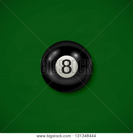 Billiard black ball on green cloth background, billiard table with black 8 ball, illustration.