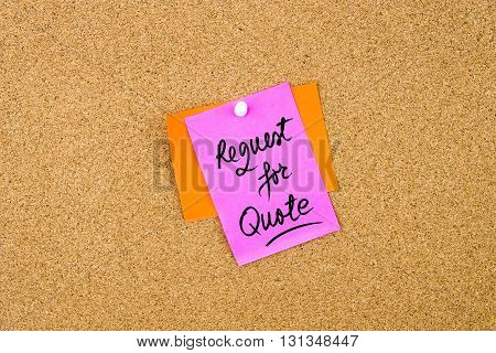 Request For Quote Written On Paper Note