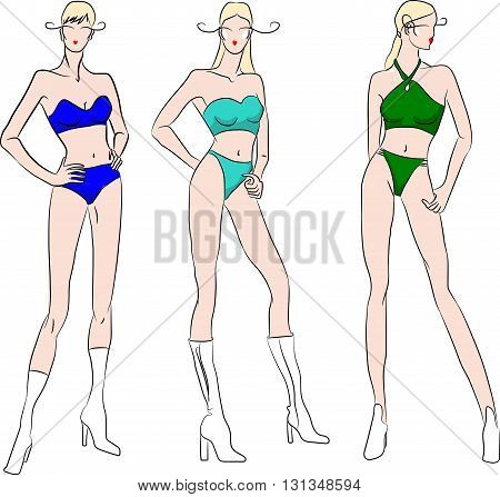 set of seasonal ladies swimsuits, isolated illustration