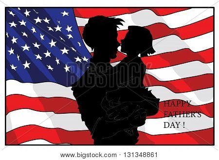 Happy Fathers Day concept with silhouette of father and his child against the background of the American flag. vector illustration