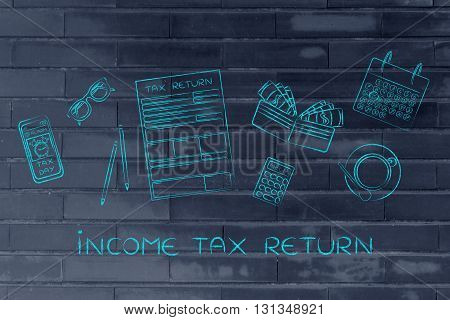 Tax Forms With Office Desk Objects & Phone Alert, Caption Income Tax