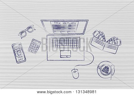 Tax Forms On Laptop Screen With Office Objects & Phone Alert