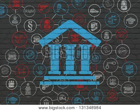 Law concept: Painted blue Courthouse icon on Black Brick wall background with Scheme Of Hand Drawn Law Icons