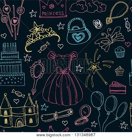 Fairy Tale Princess seamless pattern Tiara Crown castle dress. Isolated vector illustration for identity, design, decoration, packages product and interior decoration
