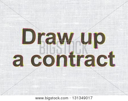 Law concept: CMYK Draw up A contract on linen fabric texture background