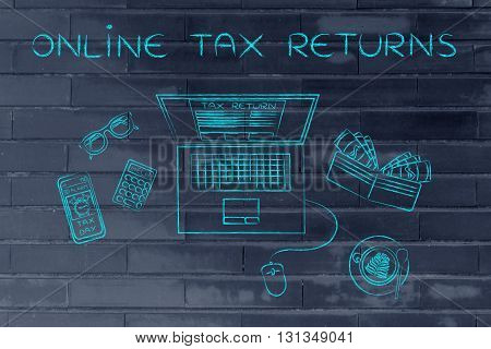 Tax Forms On Laptop Screen With Office Objects, Online Tax Returns