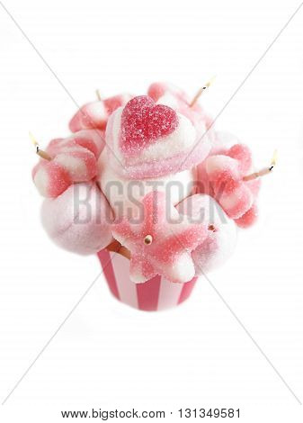 strawberry cupcake jelly beans and cream with candles