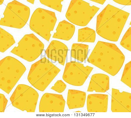 Food vector seamless pattern with many delicious slices of cheese