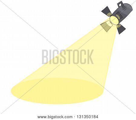 Cartoon spotlight, vector illustration isolated on white