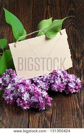Postcard with purple lilac flowers on wooden table. Empty blank for your text