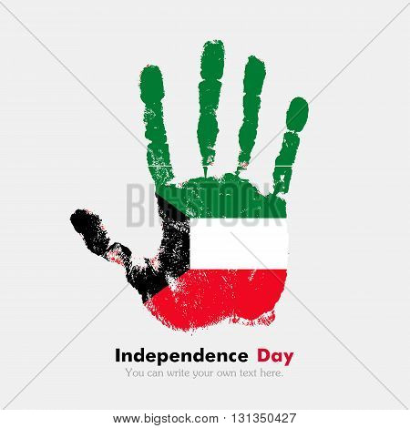 Hand print, which bears the Flag of Kuwait. Independence Day. Grunge style. Grungy hand print with the flag. Hand print and five fingers. Used as an icon, card, greeting, printed materials.