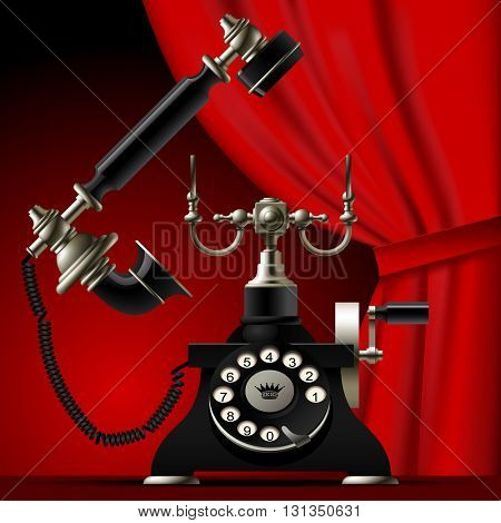 Vintage telephone with a red curtain on dark red background. Vector illustration
