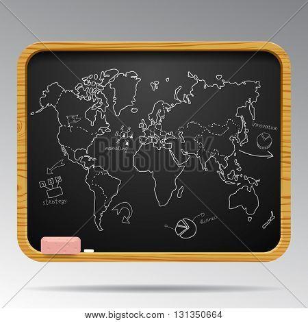 Blackboard isolated with hand drawn world map and business icons. Vector illustration