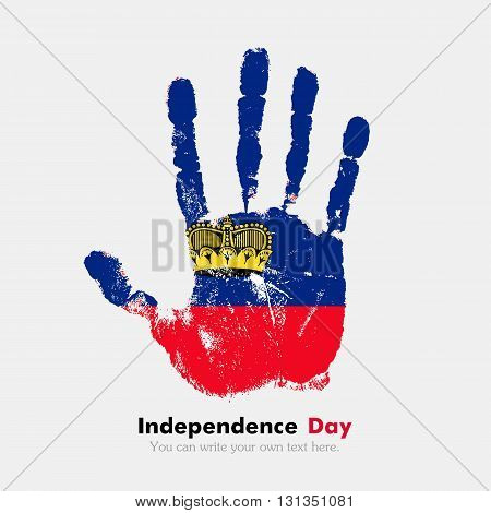 Hand print, which bears the Flag of Liechtenstein. Independence Day. Grunge style. Grungy hand print with the flag. Hand print and five fingers. Used as an icon, card, greeting, printed materials.