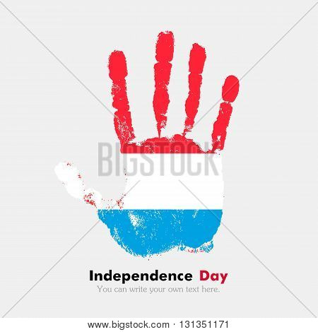 Hand print, which bears the Flag of Luxembourg. Independence Day. Grunge style. Grungy hand print with the flag. Hand print and five fingers. Used as an icon, card, greeting, printed materials.