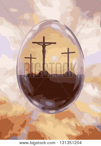 Crucifixion Easter egg for Happy Easter vector