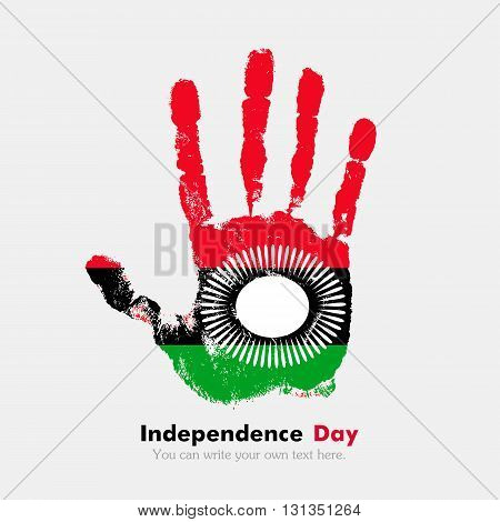 Hand print, which bears the Flag of Malawi. Independence Day. Grunge style. Grungy hand print with the flag. Hand print and five fingers. Used as an icon, card, greeting, printed materials.