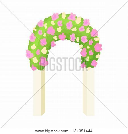 Wedding arch icon in cartoon style on a white background