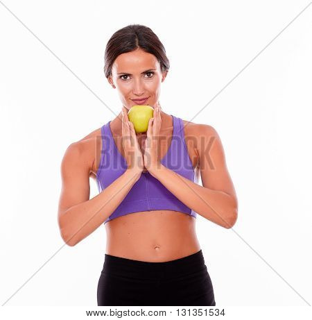 Healthy Smiling Brunette With An Apple