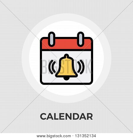 Calendar with bell icon vector. Flat icon isolated on the white background. Editable EPS file. Vector illustration.