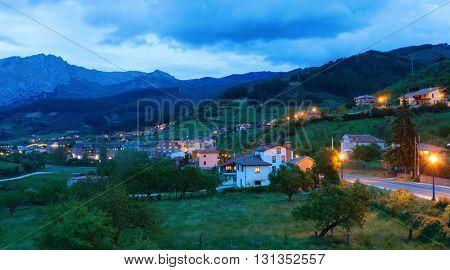 Potes at dusk,  Cantabria, Spain