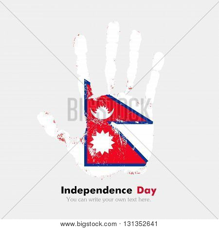 Hand print, which bears the Flag of Nepal. Independence Day. Grunge style. Grungy hand print with the flag. Hand print and five fingers. Used as an icon, card, greeting, printed materials.