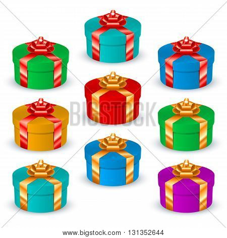 Set of round multicolored gift boxes with satin ribbons and bows; Eps8