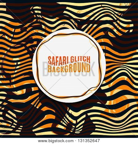 Orange Striped Safari glitch background. Distortion contemporary noise bands. For trendy banners presentations flyers design.