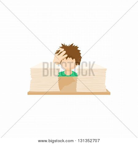 Stressed businessman in office icon in cartoon style on a white background
