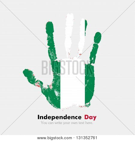 Hand print, which bears the Flag of Nigeria. Independence Day. Grunge style. Grungy hand print with the flag. Hand print and five fingers. Used as an icon, card, greeting, printed materials.