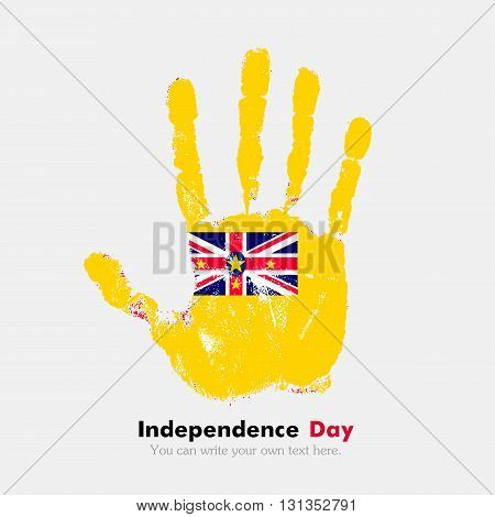 Hand print, which bears the Flag of Niue. Independence Day. Grunge style. Grungy hand print with the flag. Hand print and five fingers. Used as an icon, card, greeting, printed materials.
