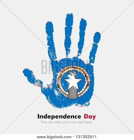 Hand print, which bears the Flag of Northern Mariana Islands. Independence Day. Grunge style. Grungy hand print with the flag. Hand print and five fingers. Used as an icon, card, greeting, printed materials.