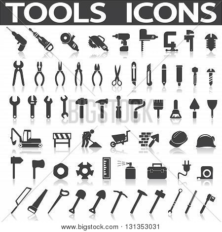 Tools Icons on a white background with a shadow