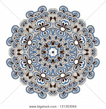 Symmetrical vector mandala with blue elements. Can be used as card, background.