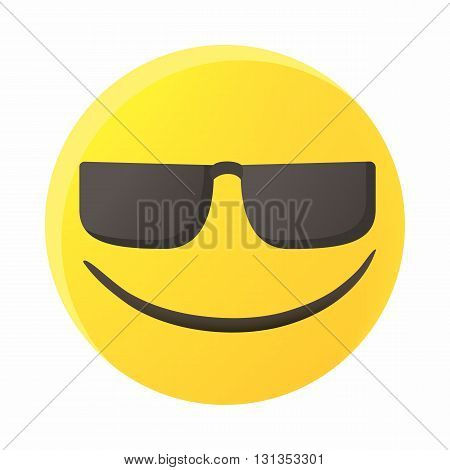 Smiling emoticon in sunglasses icon in cartoon style on a white background