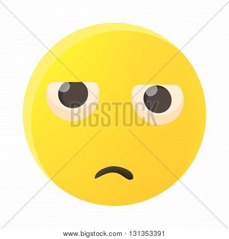 Sad emoticon icon in cartoon style on a white background