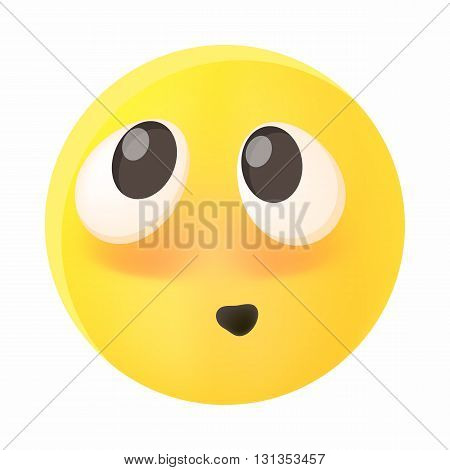 Embarrassed emoticon with flushed red cheeks icon in cartoon style on a white background