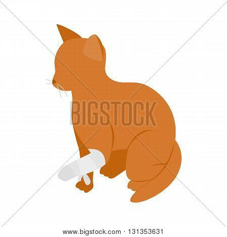 Cat with broken paw icon in isometric 3d style isolated on white background. Veterinary care symbol