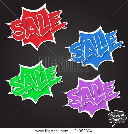 Fully vector Sale concept. Set of comics bubbles with Sale text. Comics bubbles on dark background. Sale text with shadow. The text is in white outlines. Comics bubbles are in explosion style. Various colors. Signs for various use especially for discount
