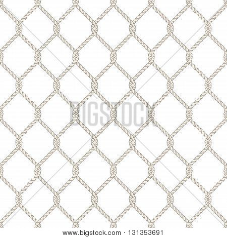 Seamless nautical rope knot pattern. Endless navy illustration with beige fishing net ornament and twisted cord on white backdrop. Trendy maritime style background. For fabric, wallpaper, wrapping.