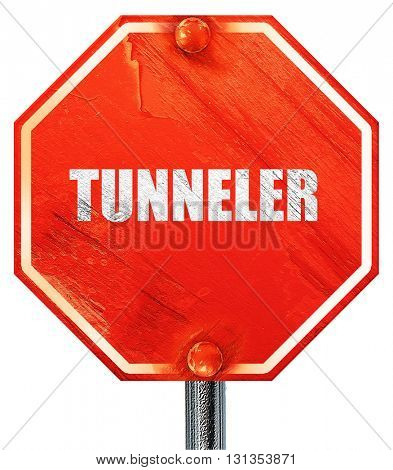 tunnels, 3D rendering, a red stop sign
