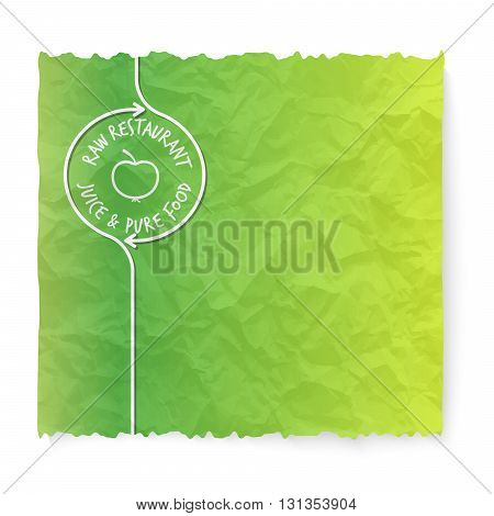 Green crumpled paper and raw restaurant icon