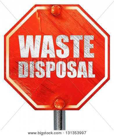 waste disposal, 3D rendering, a red stop sign