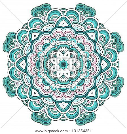 Round symmetrical pattern in blue, pink and white colors. Mandala. Kaleidoscopic design. Sacred geometry. Vector.
