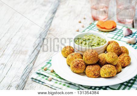chickpeas carrots cilantro bites with pesto sauce
