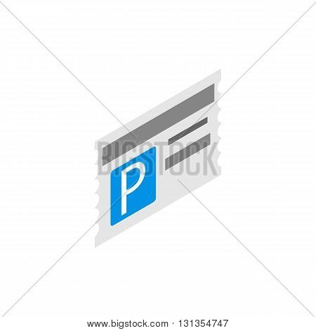 Card for car parking icon in isometric 3d style isolated on white background. Transport and service symbol