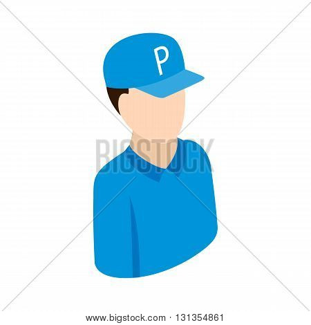 Worker on parking icon in isometric 3d style isolated on white background. Transport and service symbol