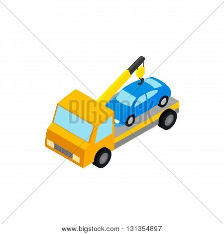 Tow truck hauls car to penalty parking icon in isometric 3d style isolated on white background. Transport and service symbol