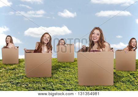 Beautiful woman thinking outside of the box